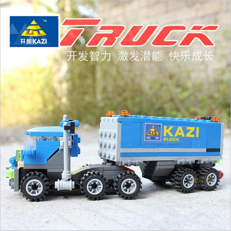 KAZI 163+Pcs city Truck DIY toys educational building blocks brinquedos comptible all brand playmobile building bricks toys6409