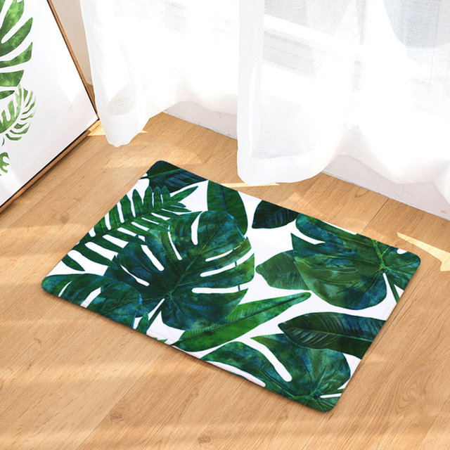 HomeMiYN Bath Mat New Painting Dark Green Leaves Kitchen Bathroom Anti Slip Door Mat Digital Foot Mats Home Floor Hand Wash