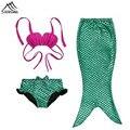 3 PCS Menina Crianças Cauda de Sereia Bikini Define Maiô Fantasia do dia das bruxas Cosplay Traje Da Princesa Crianças de Banho Maiô Biquíni
