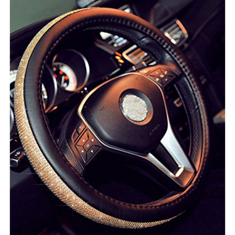 Rhinestone Leather Steering Wheel Cover Car Fashion Four Seasons Universal Full Cystal Diamond Handle Cover Auto Accessories(China)