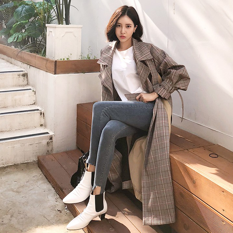 Plaid   Trench   Coat Women 2019 New Korean Khaki A-line Simple Classic Long Sleeve XL-Long   Trench   with Belt Chic Female Windbreaker