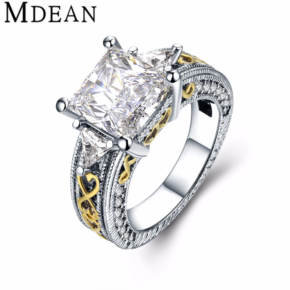 MDEAN bijoux font b ring b font White Gold Plated font b Rings b font for