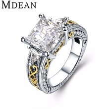 MDEAN bijoux ring White Gold Plated Rings for women fashion CZ diamond Jewelry vintage Ring Bague