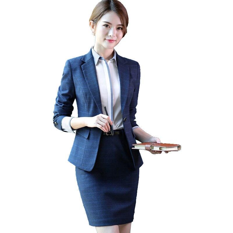 f2062e07d4 US $38.5 |2019 Formal Elegant female Women's jacket blazer tops and blouses  office lady blue plaid blazer dress blazers and jackets Women-in Blazers ...