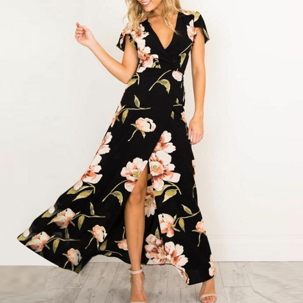 Dresses for Women Dot Print Maxi Dress Short Sleeve Casual Plus Size Summer Party Slit Long Sundress