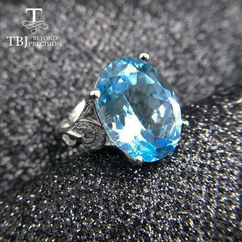 TBJ, Big single Gemstone Ring ,12*16 mm 11ct natural blue topaz in 925 sterling silver gemstone jewelry for women with gift box