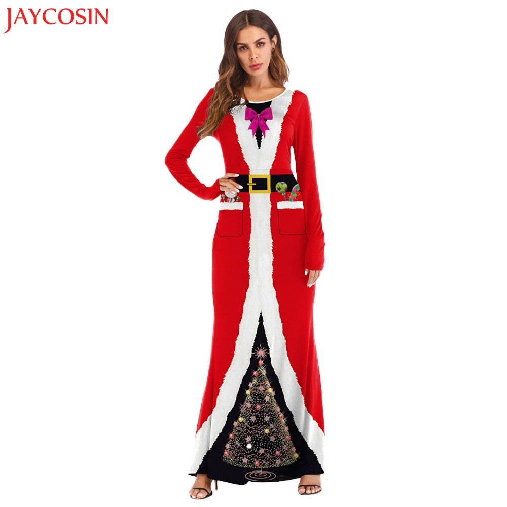 28f943ae13e73 JAYCOSIN S XL Women Winter Christmas Santa Claus Costume Cosplay 3D Printed  Ball Party Long Red O Neck Dress Floor Length z1011#-in Dresses from ...