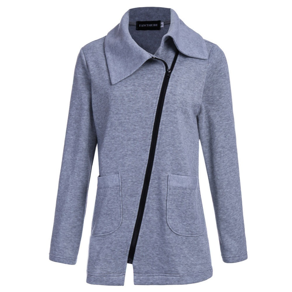 Winter Jacket Coat Women Inclined Zipper Long Jacket  Ladies Lapels Solid Color Long Sleeve Slim Fit Outerwear