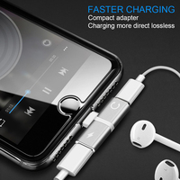 PORTEFEUILLE double adaptateur adapter Case for iphone 7 charging connector adaptateur 2in1 jack headphones adapter for iphone x