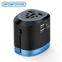 NTON power Универсальный дорожный адаптер все в одном Международный адаптер питания зарядное устройство с 2 портами usb работает в 150 + странах