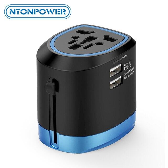 Ntonpower adaptador universal para viagem, adaptador universal para viagem, tudo em um carregador de tomada internacional com 2 portas usb, funciona em 150 + países