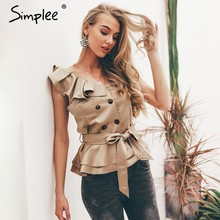 Simplee Sexy one shoulder irregular women camis tops Summer ruffle sashes khaki silk tanks blusas Elegant party female camisoles(China)
