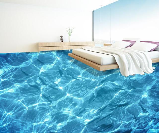 3D Floor Ocean Water Ripples Creative 3d Stereoscopic Floor Tiles Kitchen  Bathroom Pvc Waterproof Self