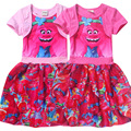 2017 Baby girl dress TROLLS magic cotton summer cotton child dress kids clothes wear children dress baby girls clothes H444