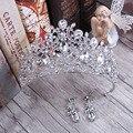 European Silver Plated Tiara Set Classic Crystal Quinceanera Crowns Wedding Bridal Tiara Crown Birthday Party Headpiece FS010