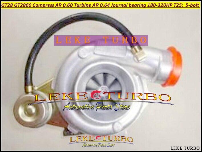 GT28 GT2860 Compressor AR 0.60 Turbine AR 0.64 Journal bearing 180-320HP T25 flange 5-bolt turbo Turbocharger (4)