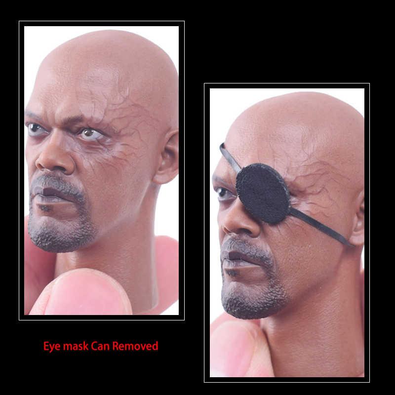 Capitán América 1/6 Escala de Sam Jackson Nick Fury juego de cabeza esculpir máscara de ojos puede quitar para figura de acción de cuerpo masculino de 12 pulgadas
