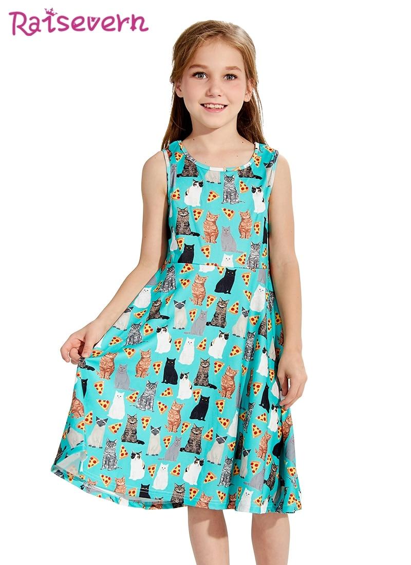 f870c264b4c4 Animal Cat Printed Summer Girls Food Pizza Dress Elegant Children Clothing  Street Wear Kids Girls Cute Princess Dress Costume-in Dresses from Mother    Kids ...