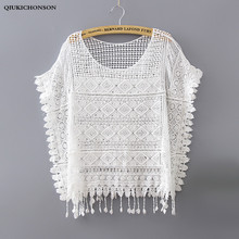 Ladies Lace Tops Summer 2018 Bohemian Cute Fringed Hollow Out Crochet White Lace Blouses Sunproof Transparent Bikini Cover Up