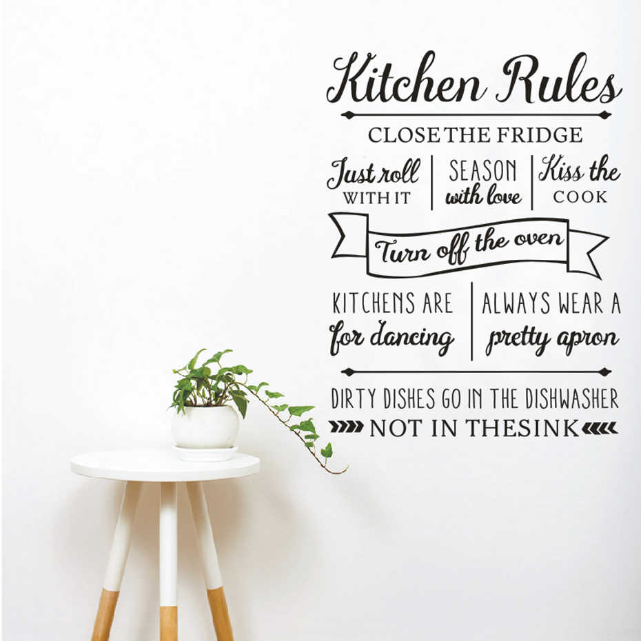 2a357becfa Detail Feedback Questions about New Kitchen Rules Wall Sticker ...