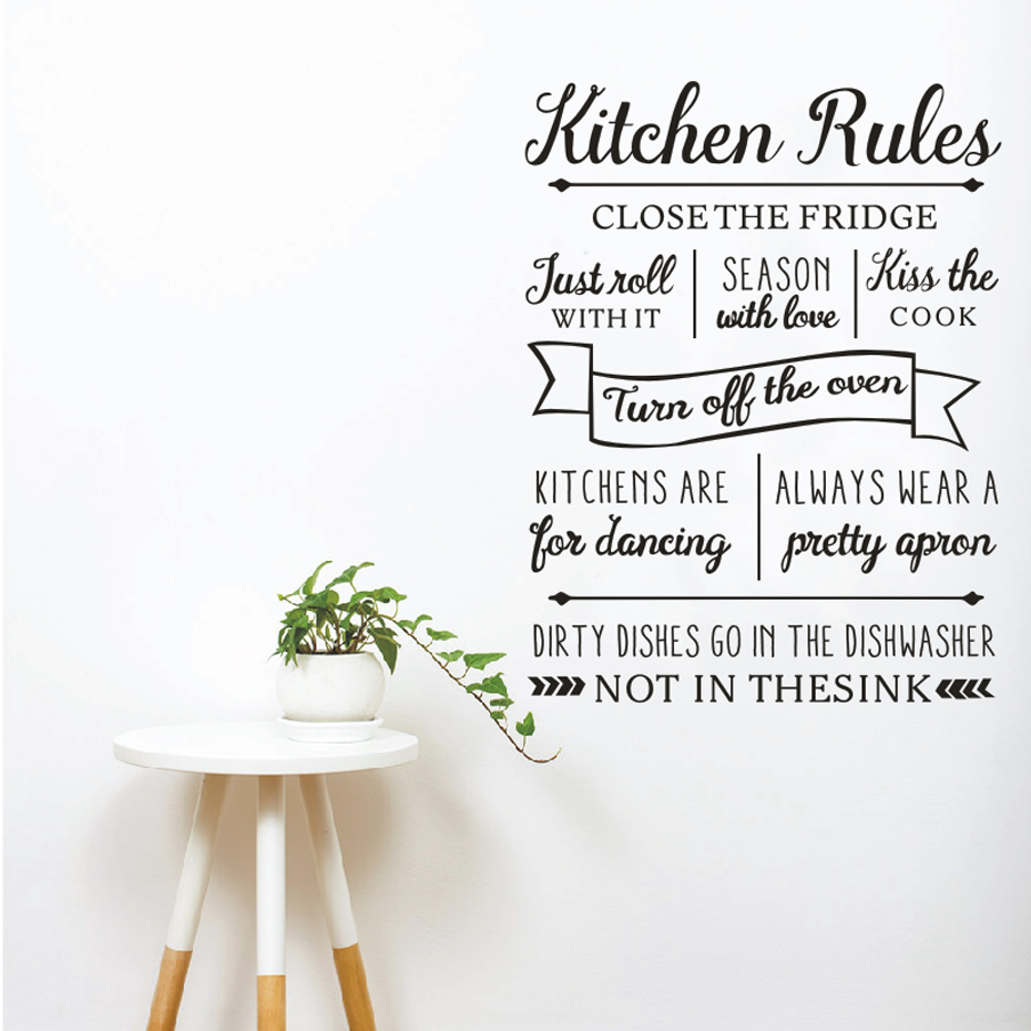 New Kitchen Rules Wall Sticker Letters Vinyl Wall Decals Removable Kitchen for Dancing Quotes for Living Room Home Decor 56x73cm