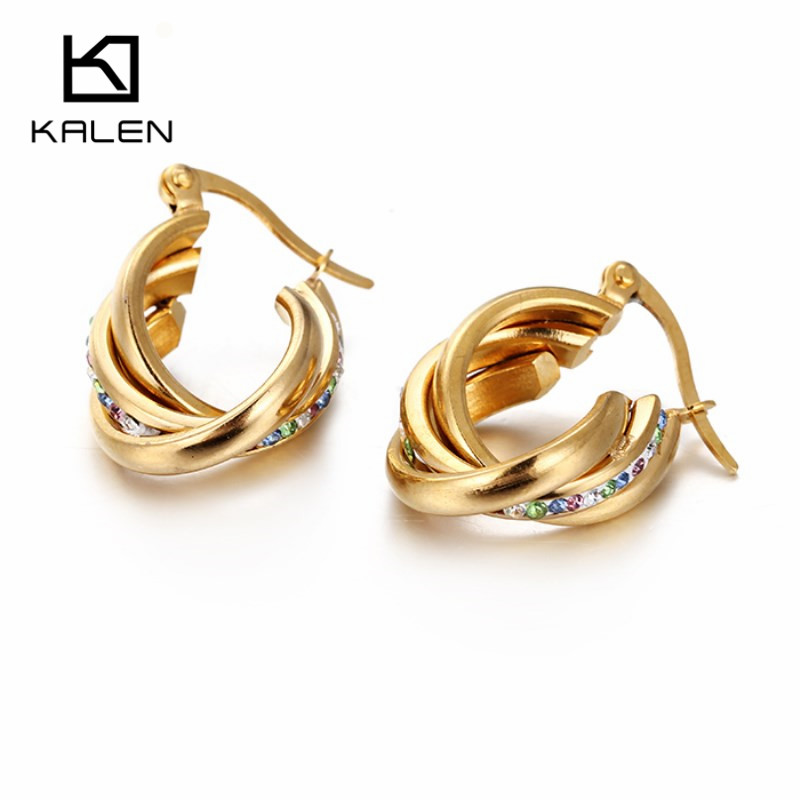 Kalen пакистанских золотые Цвет Серьги Jewelry Нержавеющаясталь нерегулярные Серьги-кольца для Для женщин Обувь для девочек высокое качество аксессуар подарки