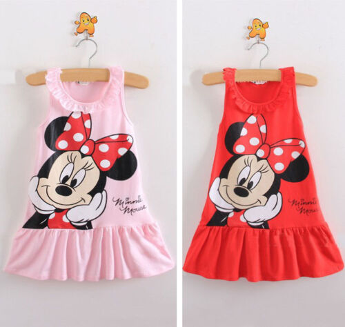 Hot Cute Kids Baby Girls Cartoon Tops Pink Red Clothes Party Casual Sleeveless Cartoon Dress For 1-6Y