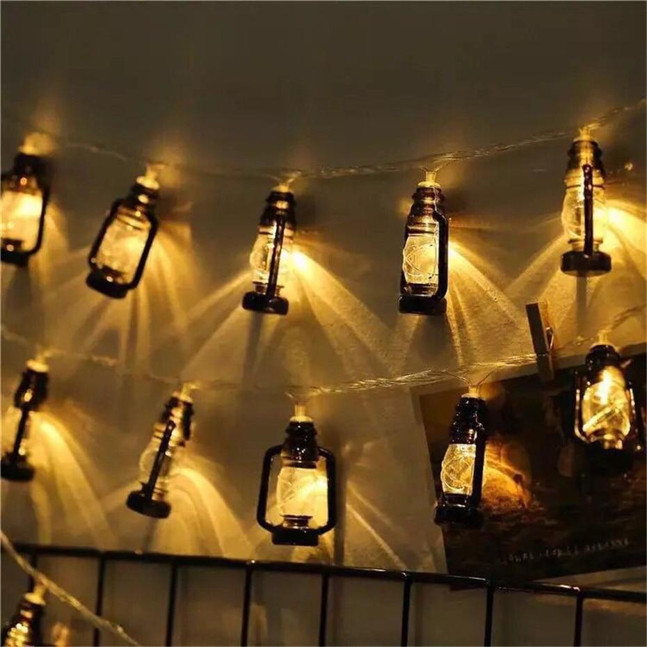 3-6M Retro Baron Lantern LED Light String Warm White Lights Decoration For Room Party Holiday Barn Lanterns Battery Powered