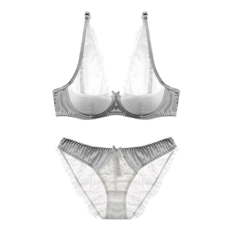 Sexy Transparent mesh Lace Solid Black Underwear elegant Women open Cup Bra Set