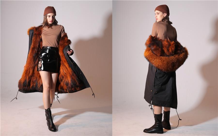 2019 Real Fur Coat Winter Jacket Women Long Parka Waterproof Big Natural Raccoon Fur Collar Hood Thick Warm Real Fox Fur Liner 79