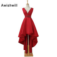 Elegant Evening DressV Neck Draped Beaded Banquet Pageant Dress Sleeveless Red Color Prom Dresses Party Gown 2018