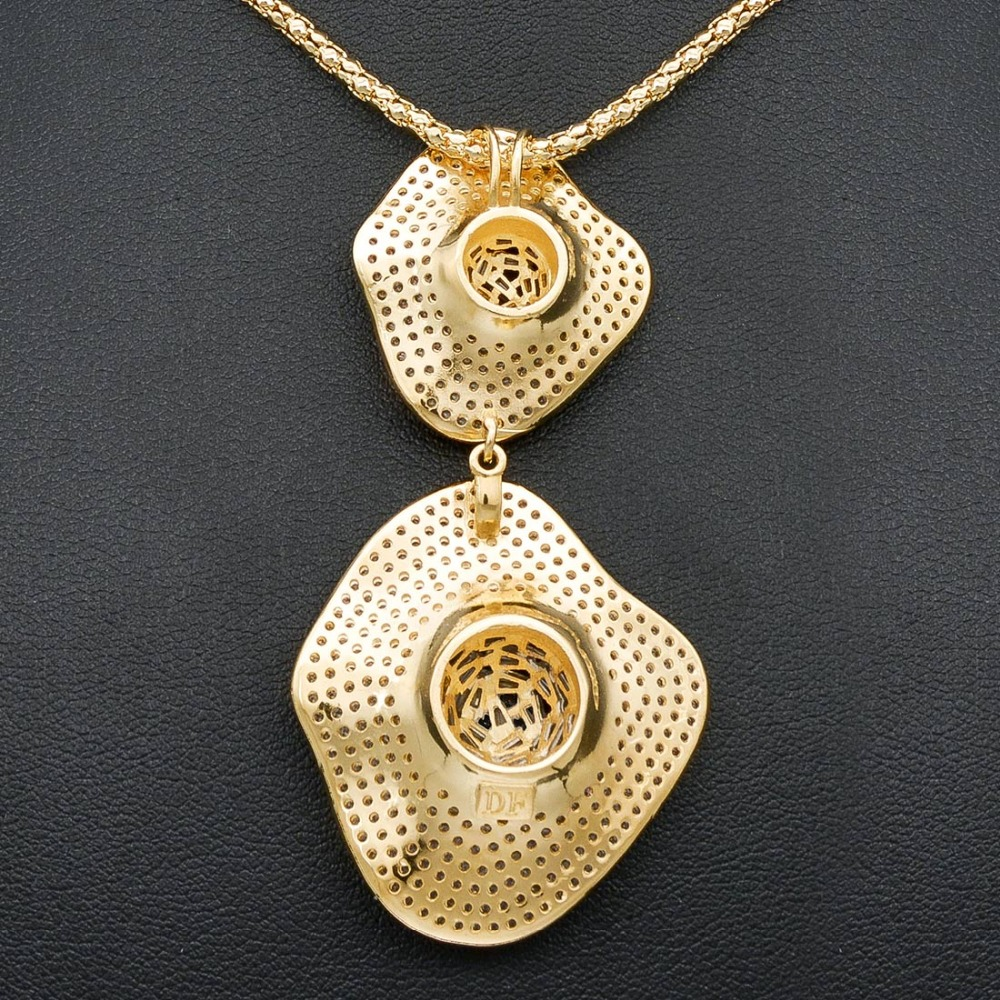 Délicat luxe gemoétrique Super AAA cubique zircone partie mariage DUBAI pendentif collier et boucle d'oreille ensemble de bijoux - 6