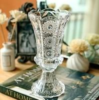Vintage Embossed Crystal Glass Vase Ornamental Goblet Flower Pitcher Glassware Decor Gift and Craft Accessories Embellishment