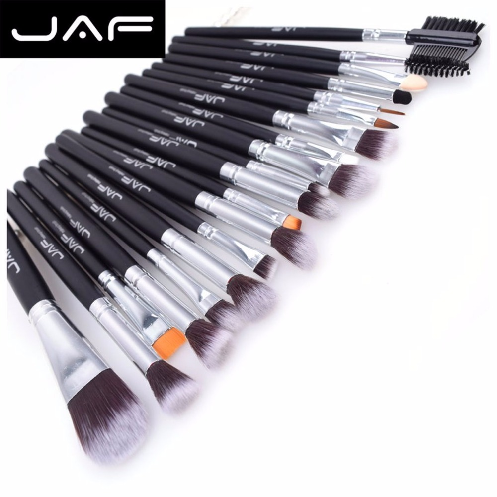 цена на JAF 20pcs/set Makeup Brushes Set Face Eye Shadow Foundation Blush Brush Blending Cosmetics Tool Synthetic Hair Taklon Tool Kits