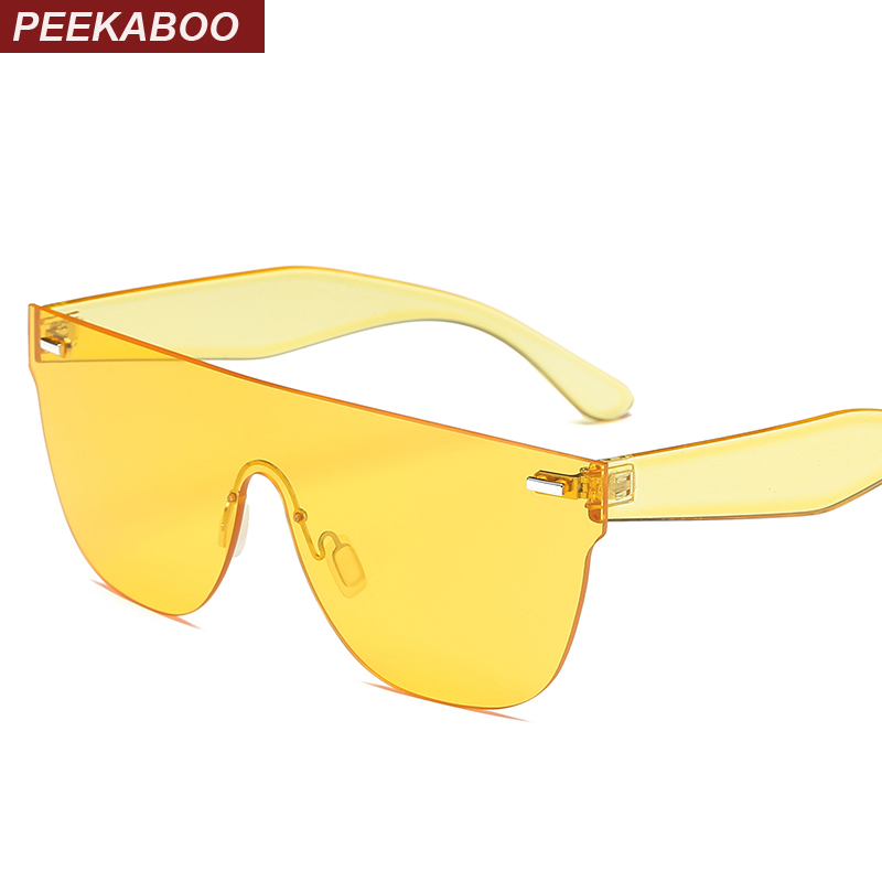 Peekaboo flat top rimless sunglasses women pink red summer one piece lens yellow sun glasses female male cheap party uv400