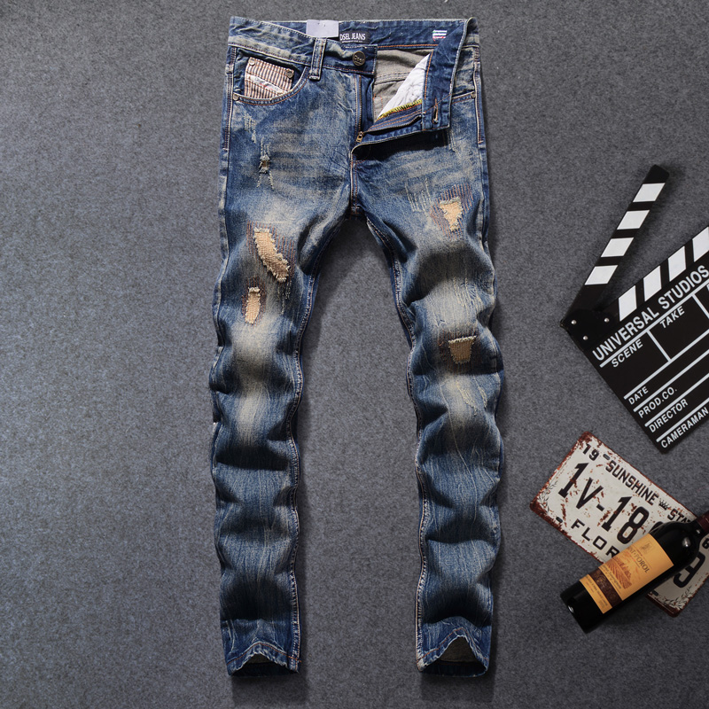 Italian Style Retro Design Men Jeans High Quality Straight Slim Fit Destroyed Ripped Jeans Mens Pants Fashion Street Biker Jeans