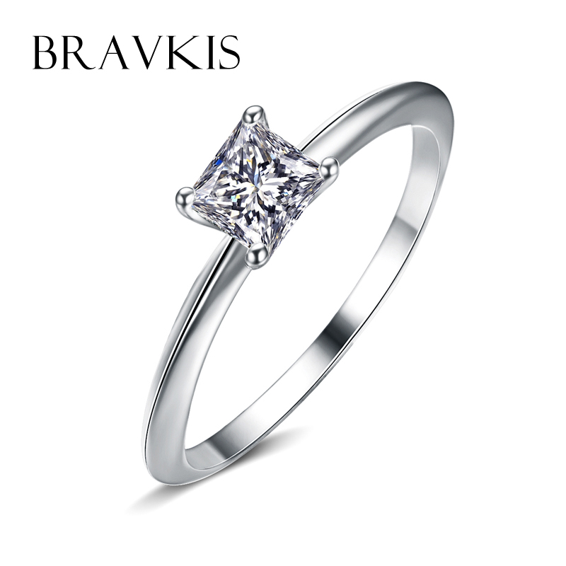 bravkis simple zircon square solitaire rings for women plain crystal wedding engagement rings bands anelli ringen