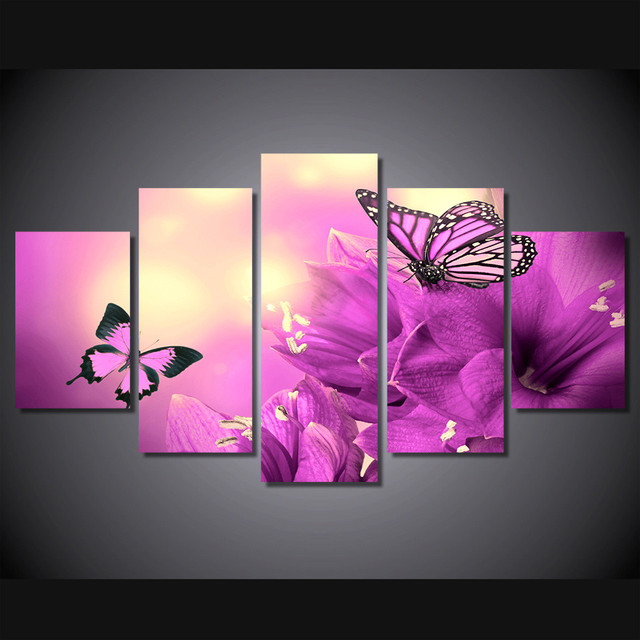 5 Pieces Canvas Art Flower Butterfly Painting Modern Home Decor Wall ...