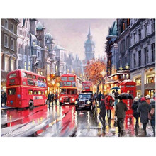 RIHE Street Bus pedestrian-DIY Framed Oil Painting By Numbers, Coloring By Numbers, Modern Wall Art Picture,Home Decor 40x50cm rihe exquisite rose flowers framed oil painting by numbers coloring by numbers modern wall art picture home decoration 40x50cm