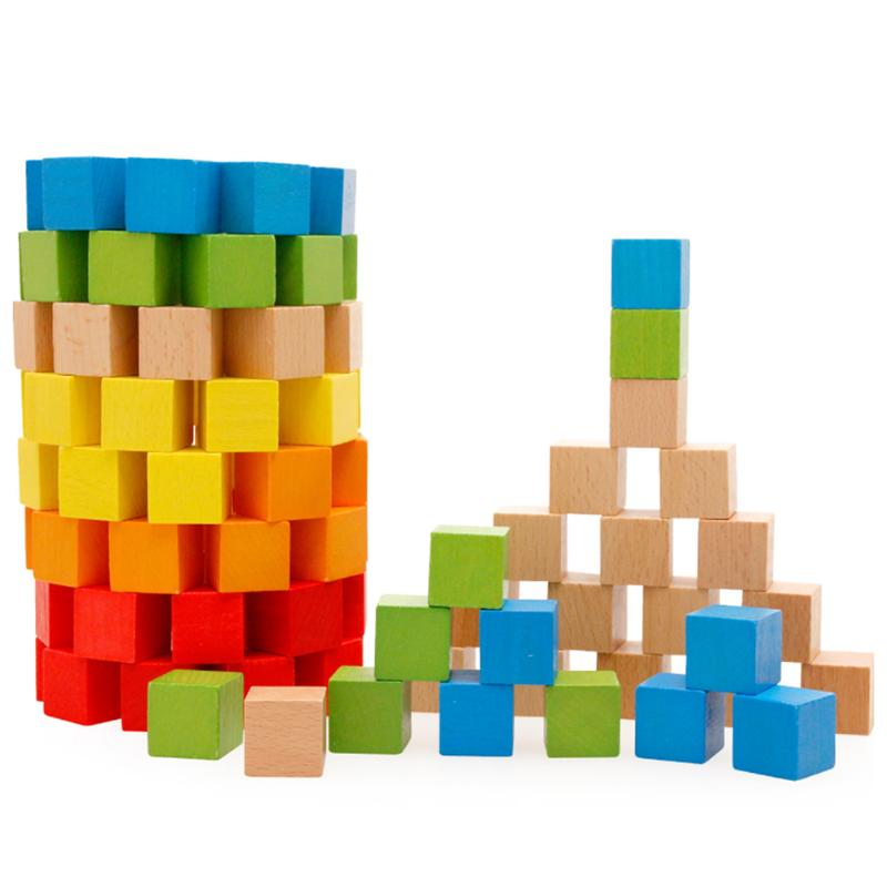 100Pcs/Set Colorful Wooden Cube 3D Building Blocks Toy Early Educational Baby DIY Handwork Game Construction Blocks Bricks цена