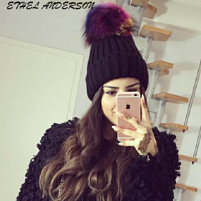 237a842d4 US $11.82 49% OFF|Multi Colored Raccoon fur pompom hat for women cashmere  beanie hat Big Natural Raccoon fur pompom Beanies cap Fox fur bobble hat-in  ...