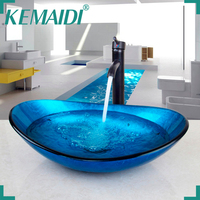 KEMAIDI US Stock Superior Quality Tempered Glass Hot and Cold Water Mixer Excellent and Convience Basin Faucet Bathroom Basin