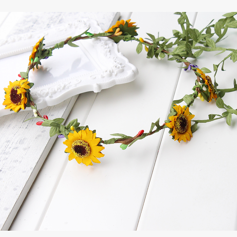 Sunflower Flower Crown Headband Real Floral Hair Wreath Rustic Bridal Halo kids children travel festival yellow floral crown