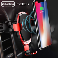 Rock wireless charging Car mount Phone Holder Stand 360 Rotate For Iphone x 7 8 Plus Samsung galaxy s9 plus Car holder