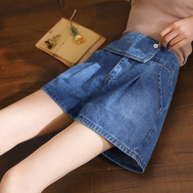 Summer Casual Womens Ladies 4xl 3xl Wide Leg High Waisted Korea Style Jeans Shorts , Spring Pleated Denim Shorts Fro Women