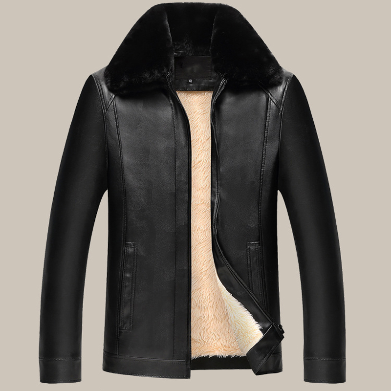 Brand Men's Plus velvet Jackets Coats PU Designer Jackets Men Outerwear Winter Fur Collar Fashion Leather Jacket For Men 50-60