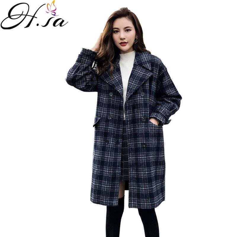 H,sa 2018 Woolen Coats Winter Women clothing woolen jacket Thick female Korean version long loose large size Plaid woolen coats
