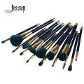 Jessup 15 unids profesional compone el sistema de cepillos fundación colorete powder blending sombra de ojos pinceles de maquillaje de cejas azul/verde oscuro