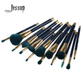 Jessup 15Pcs Professional Make up Brushes Set Foundation Blusher Powder Eyeshadow Blending Eyebrow Makeup Brushes Blue/Darkgreen