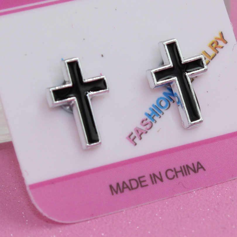 f15d56fba98a8 2pcs Unisex Fashion black drop oil cross Magnetic Clip Stud Earrings ...